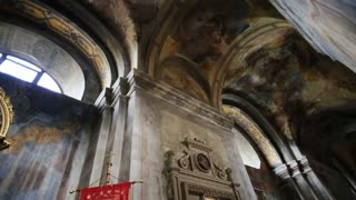 Interior Decoration. Fresco of Church Council. Image of a Saint, Church Lamp at It, Frescoes and Icons