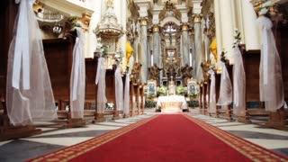 Interior of old baroque church. Dominican cathedral in Lviv