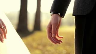 Marry Me Today And Everyday. Newlywed Couple Holding Hands, Shot In Slow Motion