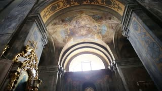 Refectory, murals on the walls of the temple. Panorama of the interior of the temple. Painting, fresco, Picture Miraculous