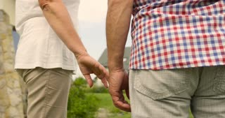 Sweet senior couple walking holding hands in the garden at sunny day