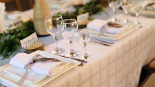 Table set for wedding or another catered event dinner