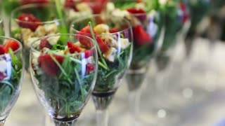 Tempting selection of fresh crisp salad vegetables & mozarella cheese making a healthy nutritious meal