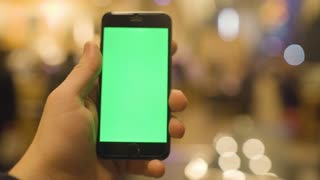 Using Phone with Green Screen In Cafe. Shot on RED Cinema Camera in 4K (UHD).