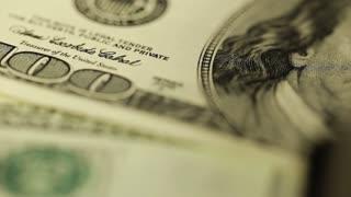 Close up dollar bills. Hunded dollars. Money close up shot. Macro