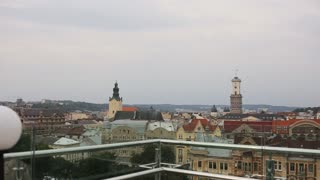 Lviv. Ukraine. Lanscape view of the city from above. Beautiful old city buildings. Roof top view