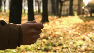 Man's hand throwing up a coin to make a decision on autmn park background