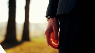Wedding Couple Holding Hands On Sunset Background Shot In Slow Motion Close Up