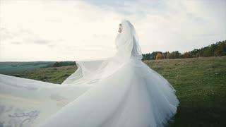 Bride's bridal veil blowing in the wind