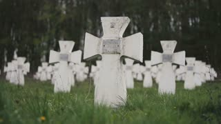 Cemetery of white military crosses