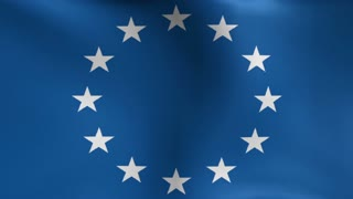 European Union Flag Blowing in the Wind Motion Graphics