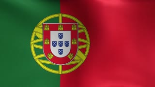 Portuguese Flag Blowing in the Wind Motion Graphics