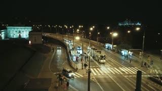 Warsaw night street traffic