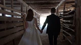 Weeding couple walks through horsebarn