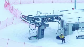 Chairlift working on winter resort