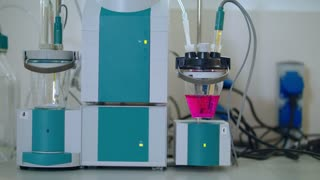 Chemical research equipment. Automatic titrator in the biochemical laboratory. Modern chemical equipment in biotechnology lab. Chemical laboratory research