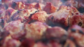 Cooked meat. Closeup. Grilled meat. Macro. Cooking shish kebab for picnic. Tasty grilled food. Close up. Roasted meat. Meat with crust. Food prepared on fire. Barbecue food. Barbeque meat preparing