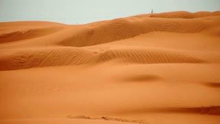Desert landscape. Desert horizon. Golden sand dunes and blue sky. Sahara landscape. Orange desert sand. Desert background. Beautiful desert landscape. Sahara desert travel. Desert sand waves. Desert panorama