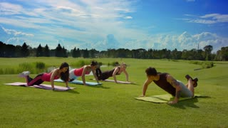 Happy friends outdoor training. Teenage people doing push ups at boot camp. Outdoor fitness group. Healthy lifestyle concept. Multi ethnic women doing push up exercise on green grass