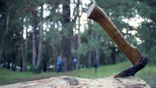 Iron axe in a tree trunk. Close up. Scene for horror movie. Chopping firewood. Camping in forest. Journey into wild. Danger for childrens playing on background. Ax close up.