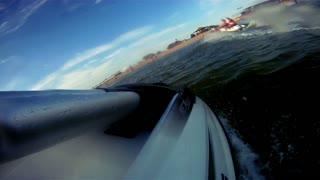 Jet ski jumping on waves