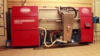 Modern milk machine for milking. Farm in Russia