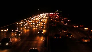 Night traffic at highway. Car lights at night motorway. Car driving on busy road. Freeway at night. Cars traffic on highway at night. Traffic jam