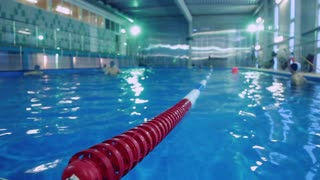 Plastic lanes in swimming pool. Lanes of competition swimming pool. Large indoor swimming pool for training. Swimming pool with clear blue water and markup