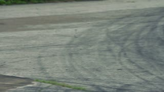 Race track with tire marks. Asphalt Road after drift