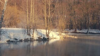 River in winter forest. Winter river. Misty river in winter forest.  Forest trees. Winter forest without leaves. Land covered by snow. Fog over cold river. River bank covered with snow. Foggy river