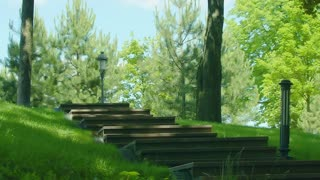 Running girl on stairway in slow motion. African woman running up on stairs. Fat woman running up staircase. Overweight girl workout outdoor. Real girl jogging up stairs in park
