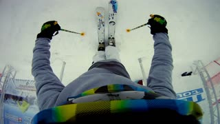Ski jumping on a slope with GoPro on head