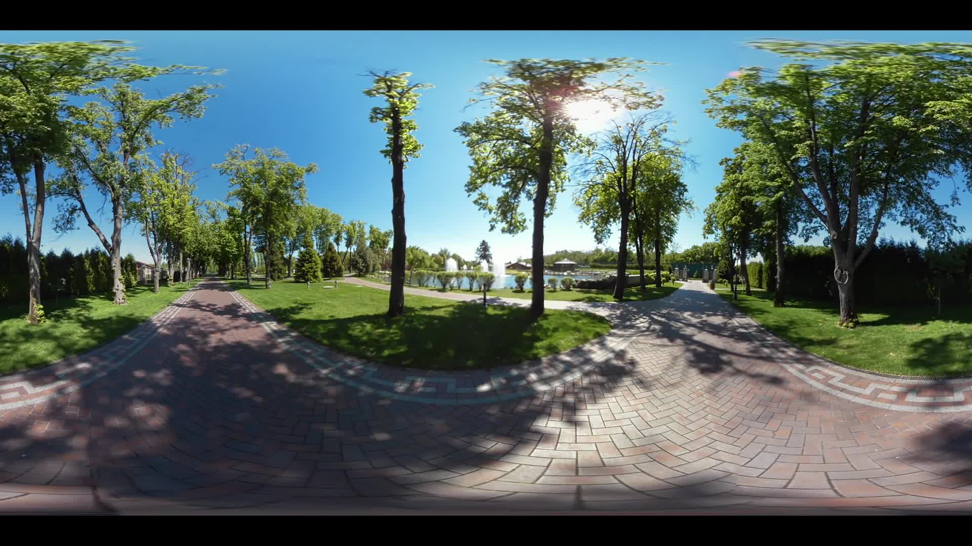 360 degree panorama of beautiful park landscape. Stone pathway in summer garden landscape. Summer park walkway with planting trees. 360 degrees of park pathway