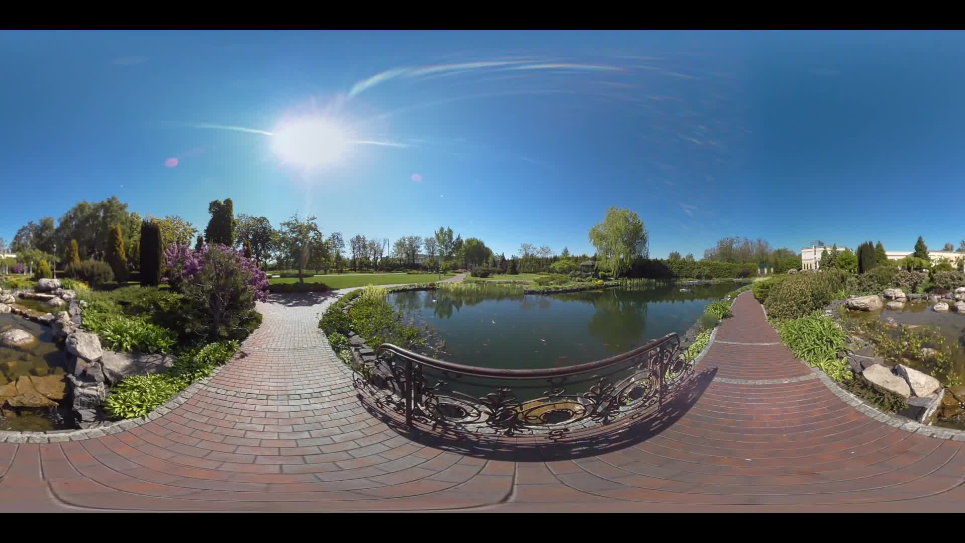 360 degree view of landscape lake in summer park. Panoramic view summer park lake. 360 degrees panorama of garden lake summer. Beautiful nature in city park