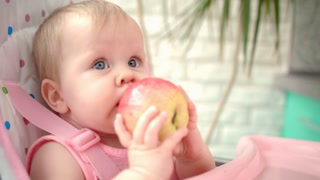 Adorable baby eating apple. Close up of toddler eating fruit. Portrait of cheerful child tasting apple. Healthy nutrition for kids. Child eat fresh fruit. Cute baby gnawing apple