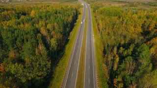 Aerial view highway road in forest landscape. Cars driving on highway between trees. Drone view of forest and highway road. Cars moving on suburban road. Highway road in forest. View from above