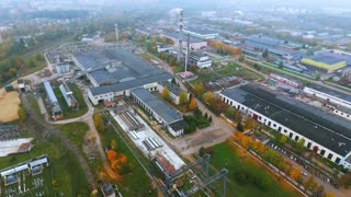 Aerial view park production plant. Manufacturing area in industrial city drone view. Territory industrial factory sky view. Industrial territory at manufacturing factory top view. Industrial cityscape
