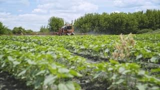 Agricultural sprayer irrigation farming field in summer. Spraying machine watering plant on agricultural field. Pesticide spraying