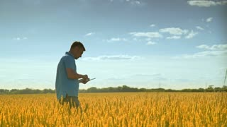 Agronom in golden wheat field. Man agronomist thinking about future harvest activity. Farmer with tablet analysing wheat harvest. Agriculture science