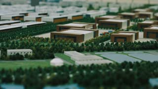 Architecture model of industrial district with commercial buildings. Engineering new buildings for urban planning. Architecture design company project
