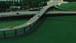 Architecture model of modern city road junction. Highway construction plan with road overpass. Architecture visual model for business presentation