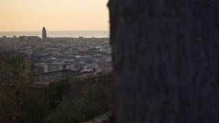 Barcelona city view. Panoramic view of Barcelona cityscape from park Guell. View on La Sagrada Familia cathedral among city buildings. Barcelona city sightseeings