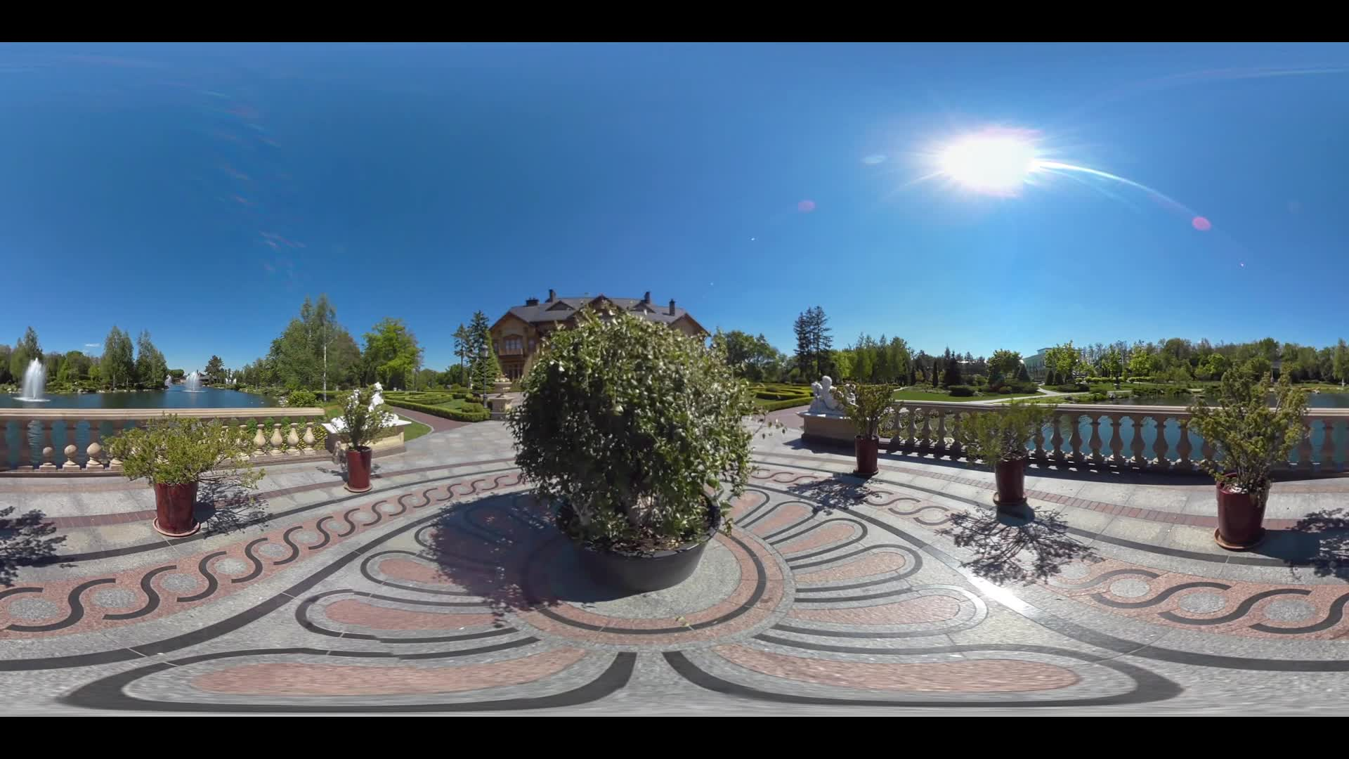 Beautiful view green garden on background brick mansion. Summer garden landscape design 360 degrees panorama. Landscape yard in private residence 360 view