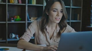 Business success concept. Successful businesswoman enjoy excellent news on laptop. Close up of happy business woman achieve goals. Female employee enjoy good business news. Exited girl show yes sign