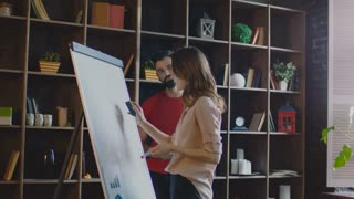 Business woman cleaning whiteboard and drawing new diagram on flipchart. Strategic planning meeting. Marketing team thinking marketing campaign on planning board. Business team working in office