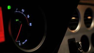 Car tachometer speed. Engine rpm meter. Auto tachometer arrow revving, Tachometer revving. Close up of tachometer display. Rmp gauge