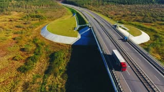 Cars traffic on highway road. Drone view cars and truck moving over highway bridge. Aerial view cars driving over highway bridge landscape. Landscape bridge in autumn nature. Highway landscape
