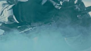 Change rifle cartridge in aksu. Assault rifle kalashnikov shutter. Reloading aks 74. Close up of soldier reloading kalashnikov rifle. Weapon removing fuse
