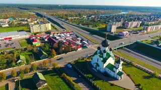Church aerial view. Aerial city. Aerial landscape city church. Sky view city highway landscape. Urban landscape view from above. Drone view urban street. Cityscape