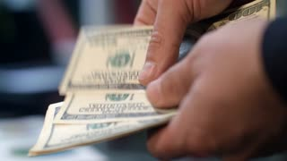 Close up of male hands counting money. Man calculate family budget. Man hands counting dollar banknotes. Economy concept. Personal savings in cash money. Money cash payment
